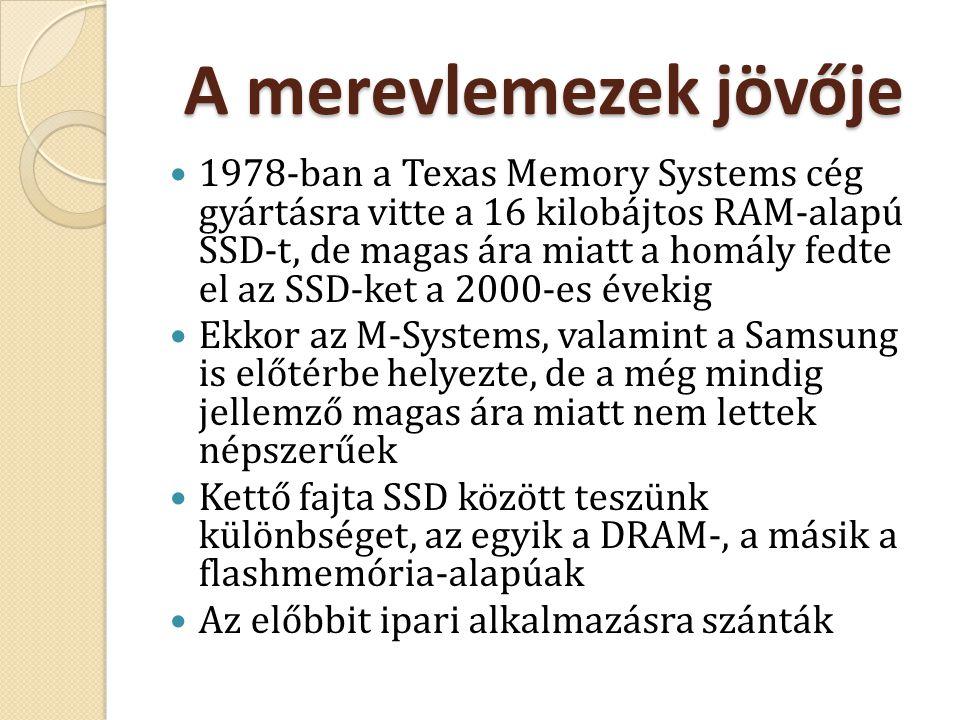 A merevlemezek jövője 1978-ban a Texas Memory Systems cég gyártásra vitte a 16 kilobájtos RAM-alapú SSD-t, de magas ára miatt a homály fedte el az SSD