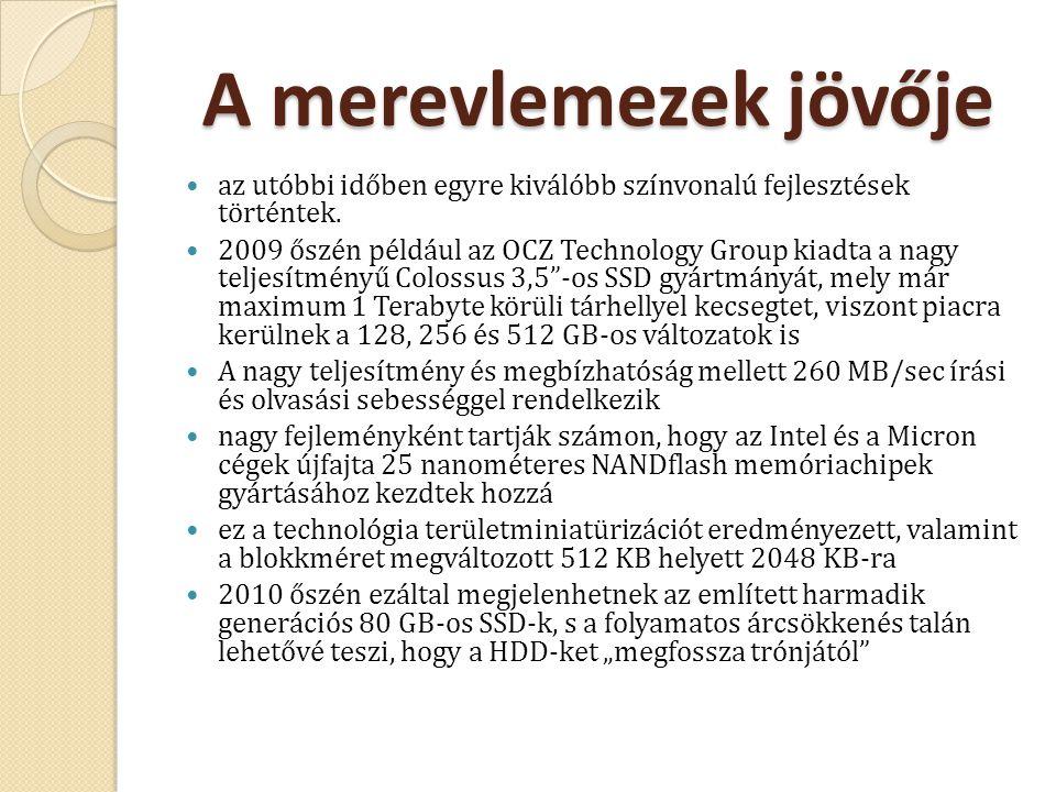 A merevlemezek jövője az utóbbi időben egyre kiválóbb színvonalú fejlesztések történtek. 2009 őszén például az OCZ Technology Group kiadta a nagy telj