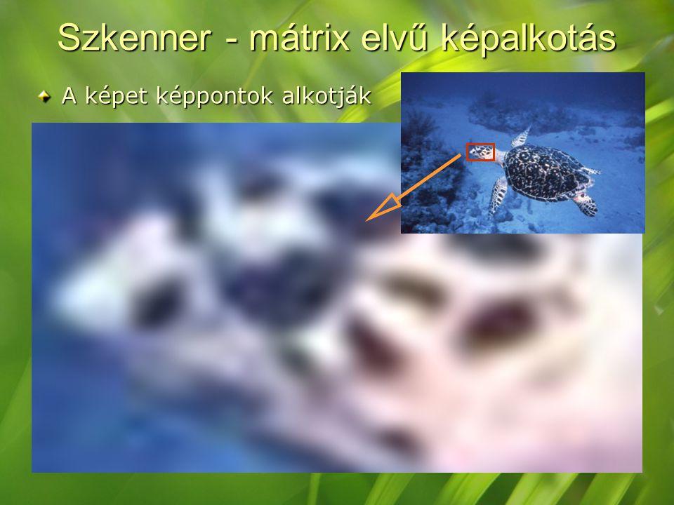 Szkenner - mátrix elvű képalkotás A képet képpontok alkotják