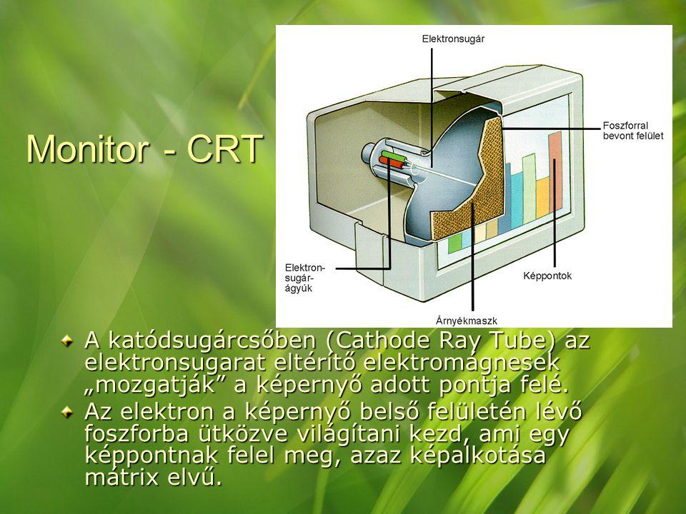 """Monitor - CRT A katódsugárcsőben (Cathode Ray Tube) az elektronsugarat eltérítő elektromágnesek """"mozgatják"""" a képernyő adott pontja felé. Az elektron"""