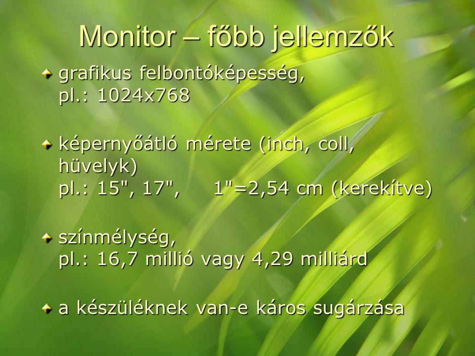 Monitor – főbb jellemzők grafikus felbontóképesség, pl.: 1024x768 képernyőátló mérete (inch, coll, hüvelyk) pl.: 15