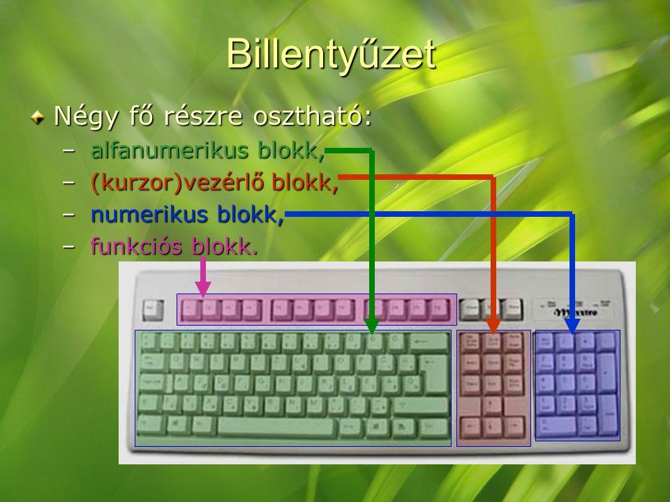 Billentyűzet Négy fő részre osztható: – alfanumerikus blokk, – (kurzor)vezérlő blokk, – numerikus blokk, – funkciós blokk.
