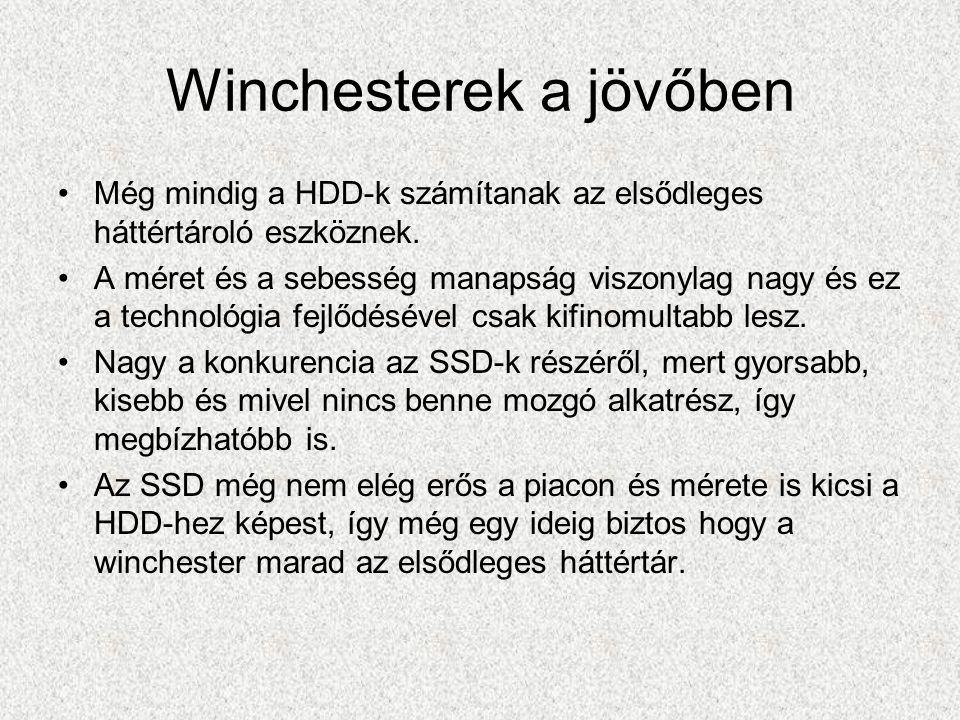 Winchesterek a jövőben Még mindig a HDD-k számítanak az elsődleges háttértároló eszköznek.