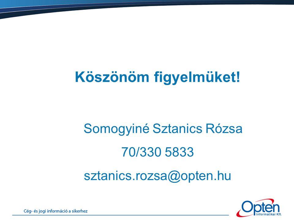 Köszönöm figyelmüket! Somogyiné Sztanics Rózsa 70/330 5833 sztanics.rozsa@opten.hu