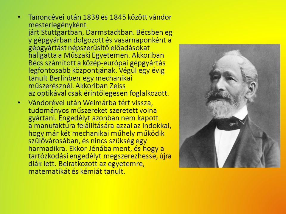 Tanoncévei után 1838 és 1845 között vándor mesterlegényként járt Stuttgartban, Darmstadtban. Bécsben eg y gépgyárban dolgozott és vasárnaponként a gép