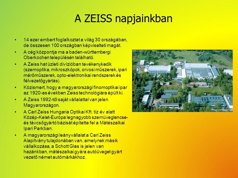 Források http://www.zeiss.com/corporate/en_de/abou t-zeiss.html http://www.zeiss.com/corporate/en_de/abou t-zeiss.html http://hu.wikipedia.org/wiki/Carl_Zeiss