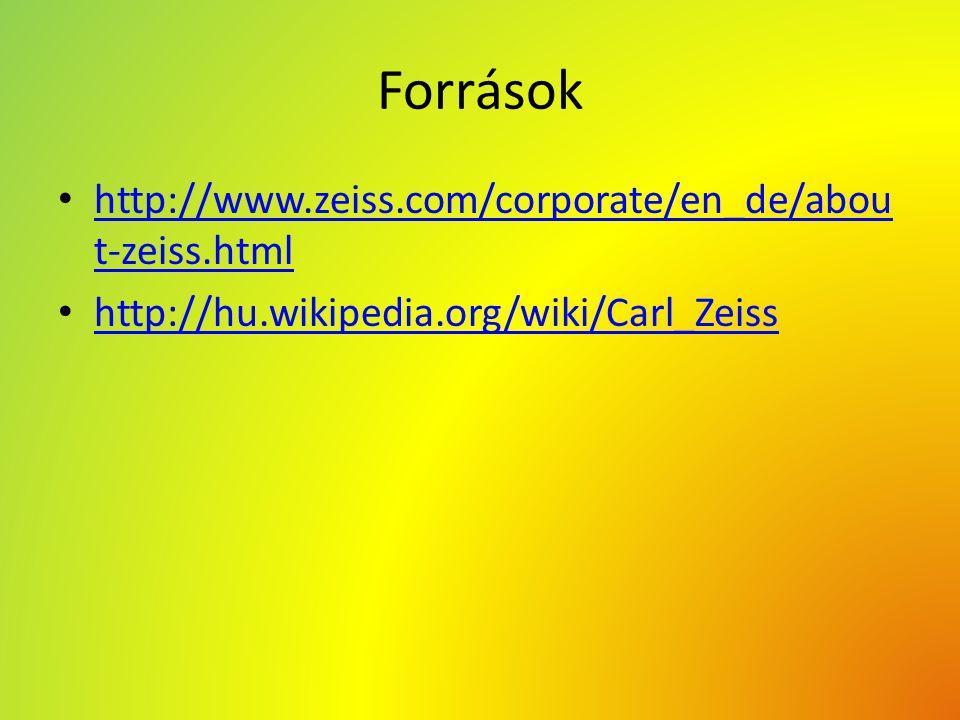 Források http://www.zeiss.com/corporate/en_de/abou t-zeiss.html http://www.zeiss.com/corporate/en_de/abou t-zeiss.html http://hu.wikipedia.org/wiki/Ca