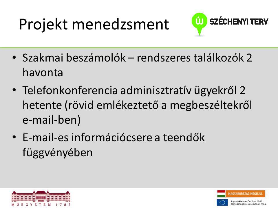 Projekt menedzsment Szakmai beszámolók – rendszeres találkozók 2 havonta Telefonkonferencia adminisztratív ügyekről 2 hetente (rövid emlékeztető a megbeszéltekről e-mail-ben) E-mail-es információcsere a teendők függvényében