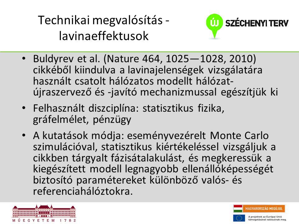 Technikai megvalósítás - lavinaeffektusok Buldyrev et al. (Nature 464, 1025—1028, 2010) cikkéből kiindulva a lavinajelenségek vizsgálatára használt cs