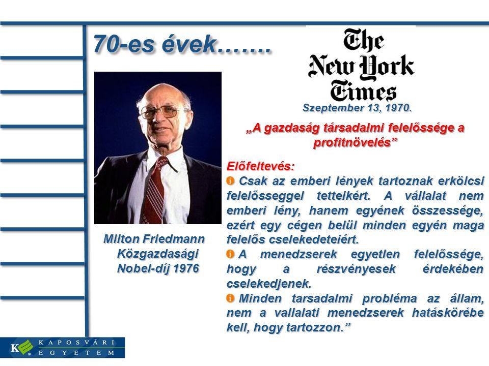 """70-es évek……. Milton Friedmann Közgazdasági Nobel-díj 1976 Szeptember 13, 1970. """"A gazdaság társadalmi felelőssége a profitnövelés"""" Előfeltevés: Csak"""