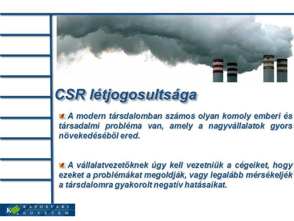 CSR létjogosultsága A modern társdalomban számos olyan komoly emberi és társadalmi probléma van, amely a nagyvállalatok gyors növekedéséből ered. A mo