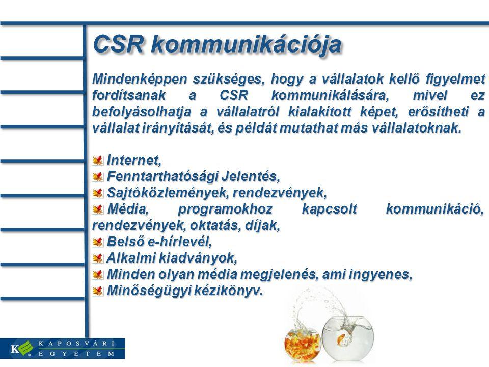 CSR kommunikációja Mindenképpen szükséges, hogy a vállalatok kellő figyelmet fordítsanak a CSR kommunikálására, mivel ez befolyásolhatja a vállalatról