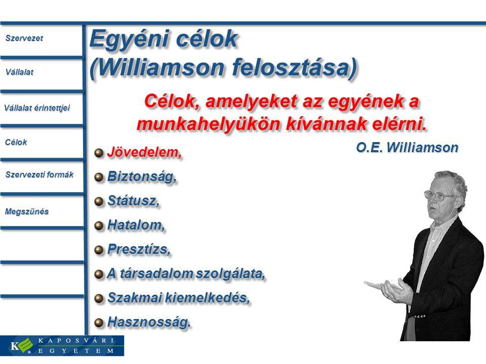 Egyéni célok (Williamson felosztása) O.E. Williamson Célok, amelyeket az egyének a munkahelyükön kívánnak elérni. Jövedelem, Biztonság, Biztonság, Stá