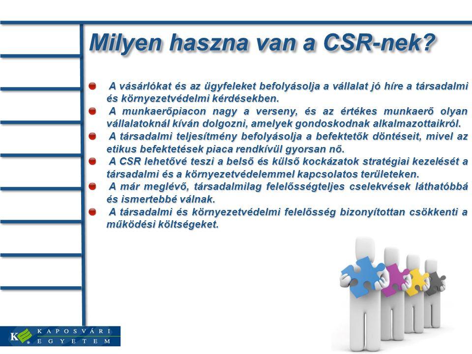 Milyen haszna van a CSR-nek? A vásárlókat és az ügyfeleket befolyásolja a vállalat jó híre a társadalmi és környezetvédelmi kérdésekben. A vásárlókat