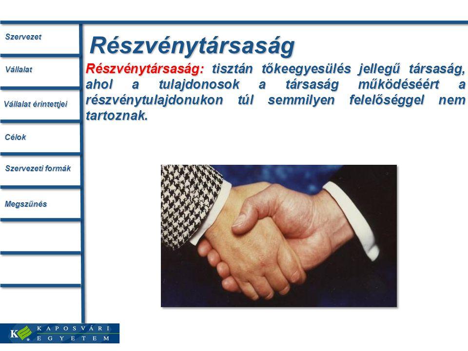 Részvénytársaság Részvénytársaság: tisztán tőkeegyesülés jellegű társaság, ahol a tulajdonosok a társaság működéséért a részvénytulajdonukon túl semmi
