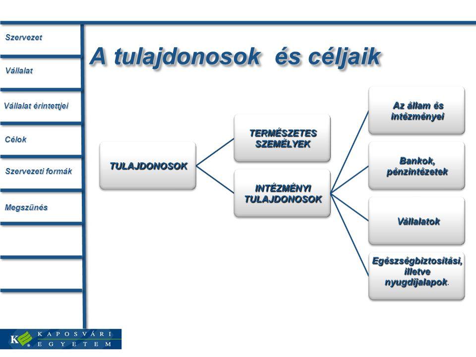 A tulajdonosok és céljaik Szervezet Vállalat érintettjei Vállalat Célok Szervezeti formák Megszűnés