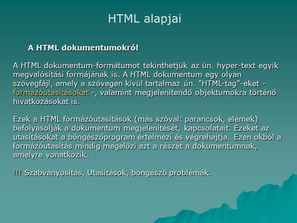 A HTML dokumentumokról A HTML dokumentum-formátumot tekinthetjük az ún.