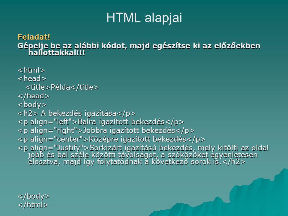 HTML alapjai Feladat. Gépelje be az alábbi kódot, majd egészítse ki az előzőekben hallottakkal!!.