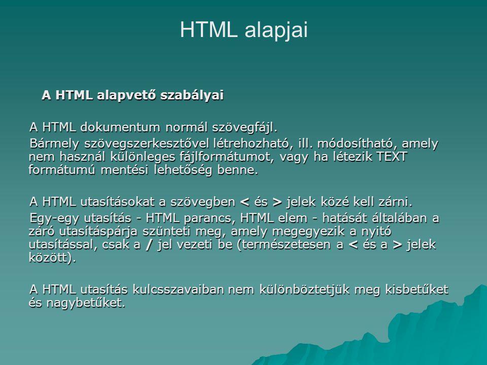 A HTML alapvető szabályai A HTML dokumentum normál szövegfájl.