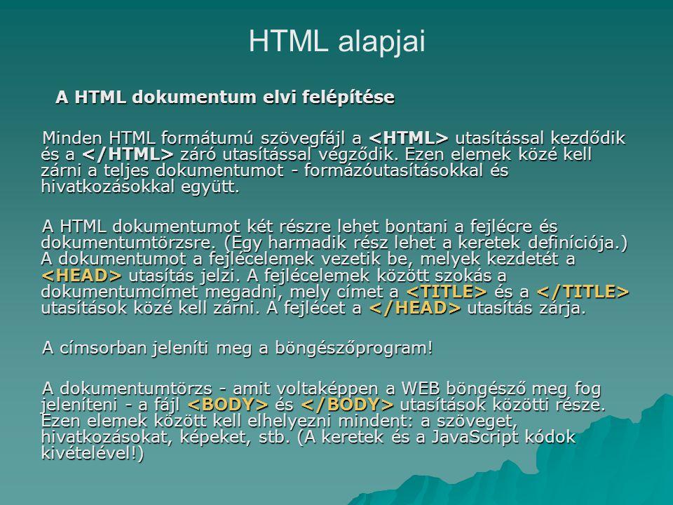 HTML alapjai A HTML dokumentum elvi felépítése Minden HTML formátumú szövegfájl a utasítással kezdődik és a záró utasítással végződik.