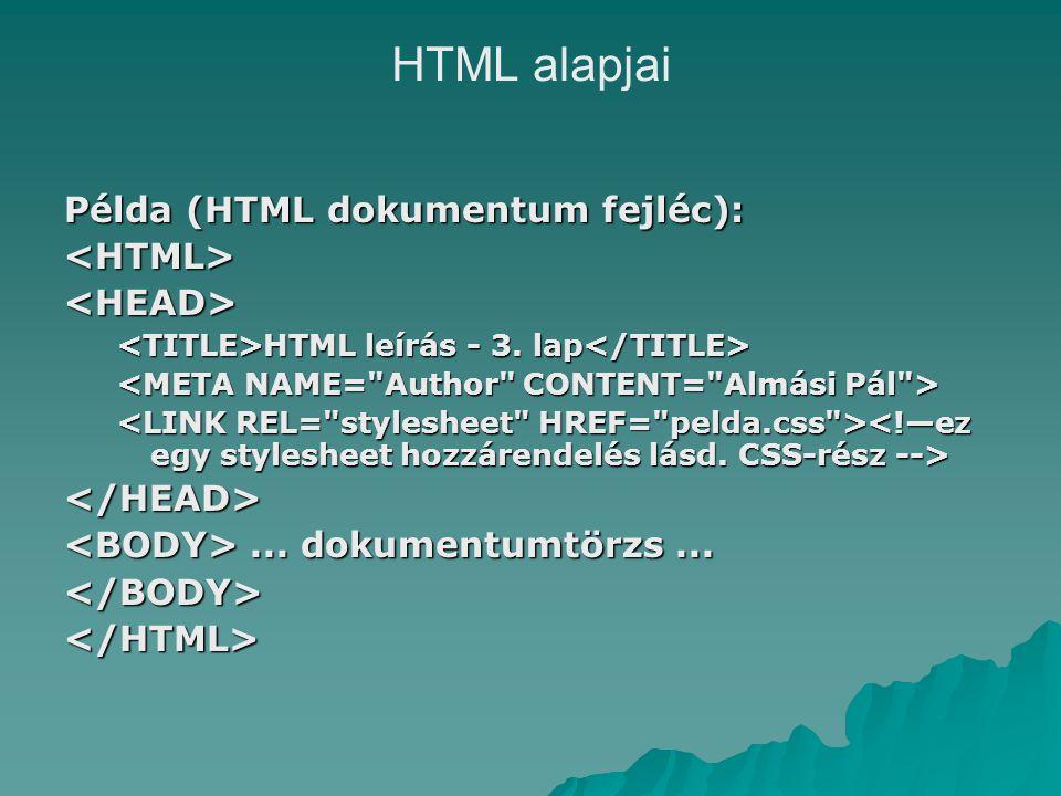 HTML alapjai Példa (HTML dokumentum fejléc): <HTML><HEAD> HTML leírás - 3.