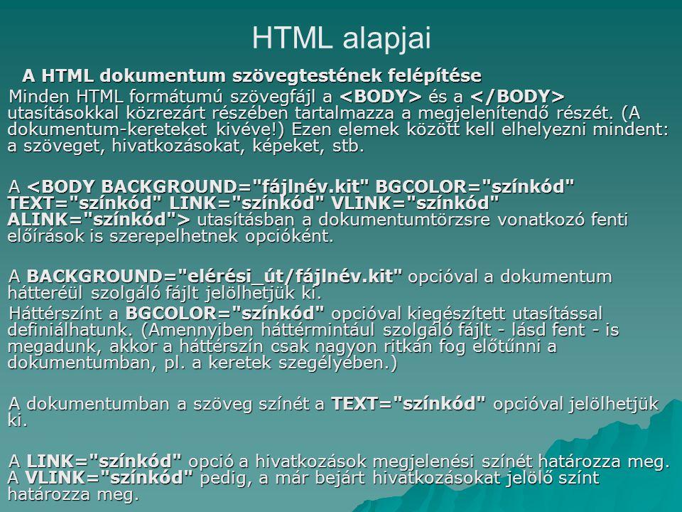 A HTML dokumentum szövegtestének felépítése Minden HTML formátumú szövegfájl a és a utasításokkal közrezárt részében tartalmazza a megjelenítendő részét.