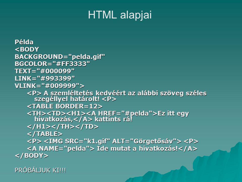 Példa<BODYBACKGROUND= pelda.gif BGCOLOR= #FF3333 TEXT= #000099 LINK= #993399 VLINK= #009999 > A szemléltetés kedvéért az alábbi szöveg széles szegéllyel határolt.