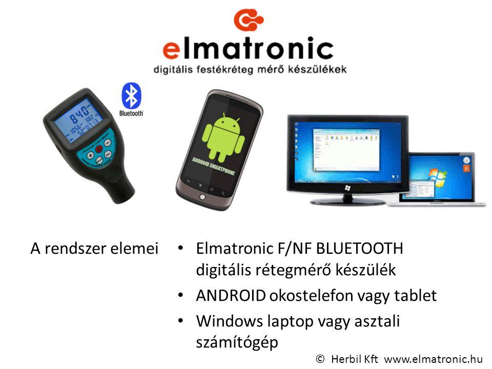 A rendszer elemei Elmatronic F/NF BLUETOOTH digitális rétegmérő készülék ANDROID okostelefon vagy tablet Windows laptop vagy asztali számítógép © Herbil Kft www.elmatronic.hu