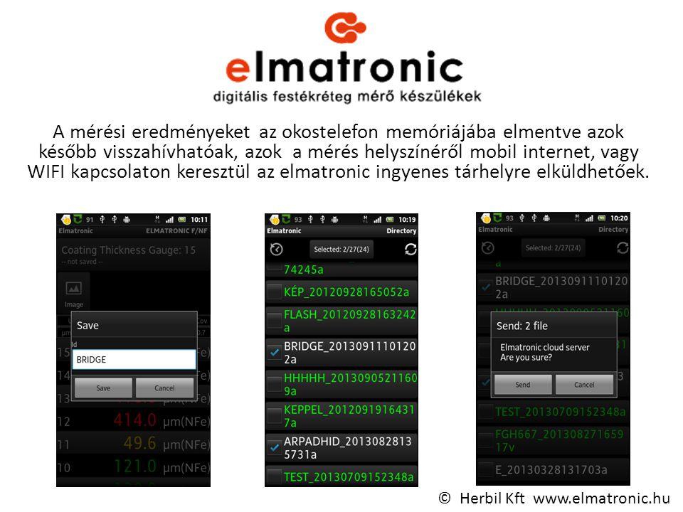 A mérési eredményeket az okostelefon memóriájába elmentve azok később visszahívhatóak, azok a mérés helyszínéről mobil internet, vagy WIFI kapcsolaton keresztül az elmatronic ingyenes tárhelyre elküldhetőek.