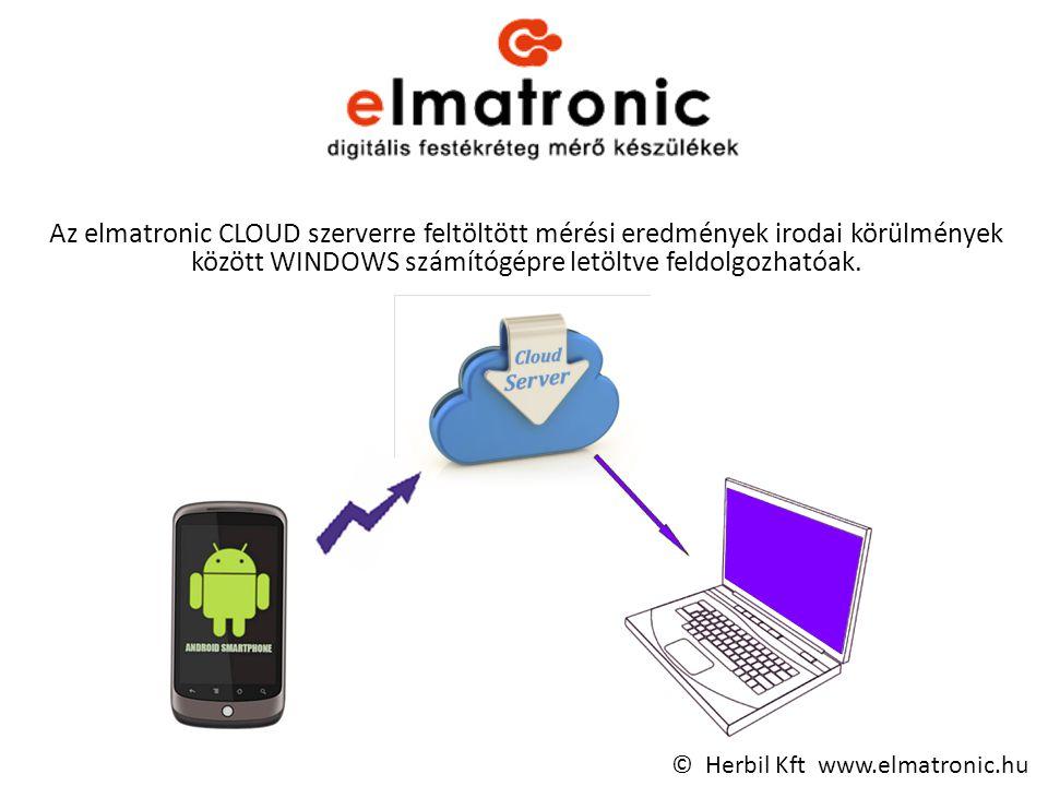 Az elmatronic CLOUD szerverre feltöltött mérési eredmények irodai körülmények között WINDOWS számítógépre letöltve feldolgozhatóak.