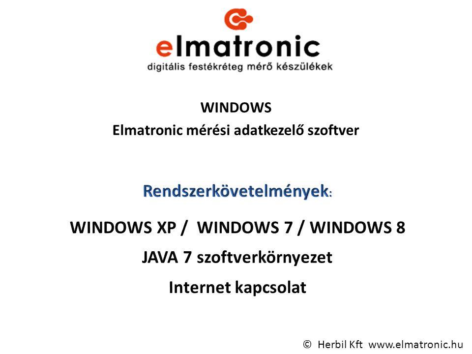 WINDOWS Elmatronic mérési adatkezelő szoftver © Herbil Kft www.elmatronic.hu