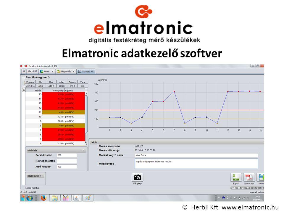 Elmatronic adatkezelő szoftver © Herbil Kft www.elmatronic.hu