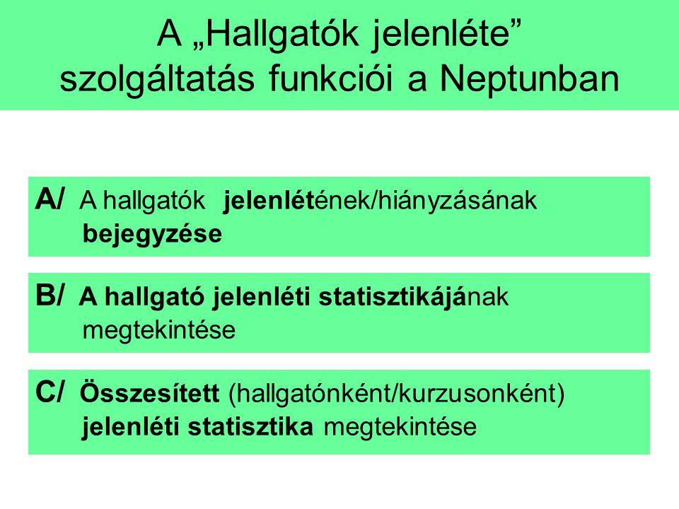 """Lépések A """"Hallgatók jelenléte"""" szolgáltatás funkciói a Neptunban B/ A hallgató jelenléti statisztikájának megtekintése C/ Összesített (hallgatónként/"""