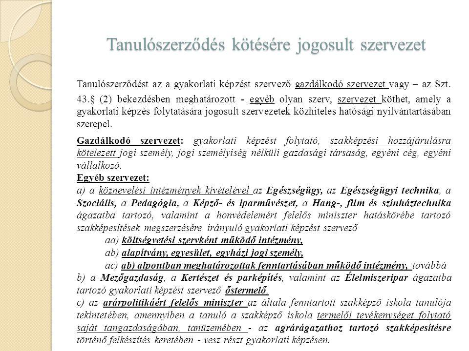 Tanulószerződés kötésére jogosult szervezet Tanulószerződést az a gyakorlati képzést szervező gazdálkodó szervezet vagy – az Szt. 43.§ (2) bekezdésben