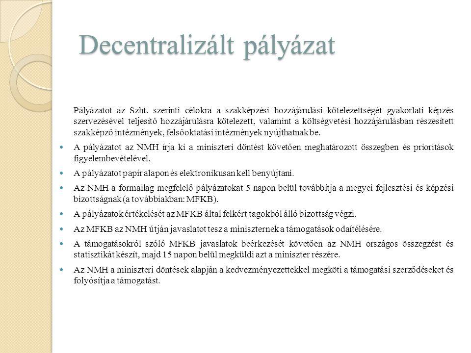 Decentralizált pályázat Pályázatot az Szht. szerinti célokra a szakképzési hozzájárulási kötelezettségét gyakorlati képzés szervezésével teljesítő hoz