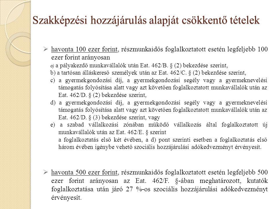 Szakképzési hozzájárulás alapját csökkentő tételek  havonta 100 ezer forint, részmunkaidős foglalkoztatott esetén legfeljebb 100 ezer forint arányosa