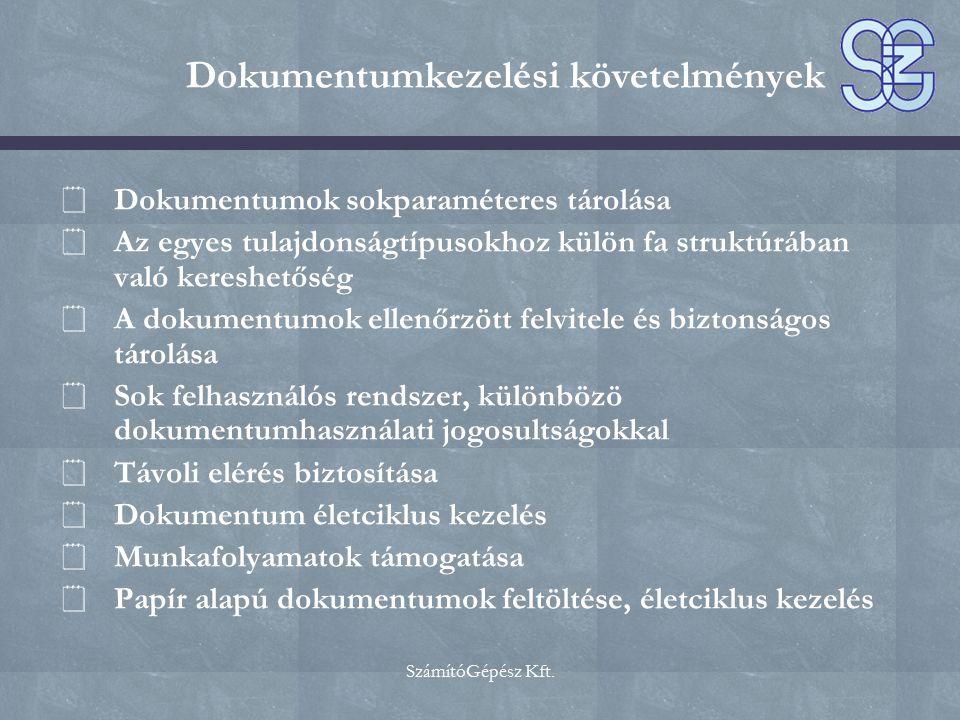 Dokumentumkezelési követelmények  Dokumentumok sokparaméteres tárolása  Az egyes tulajdonságtípusokhoz külön fa struktúrában való kereshetőség  A d