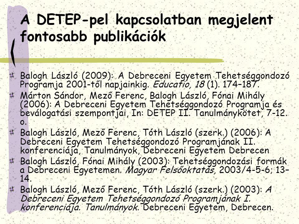 A DETEP-pel kapcsolatban megjelent fontosabb publikációk Balogh László (2009): A Debreceni Egyetem Tehetséggondozó Programja 2001-től napjainkig.