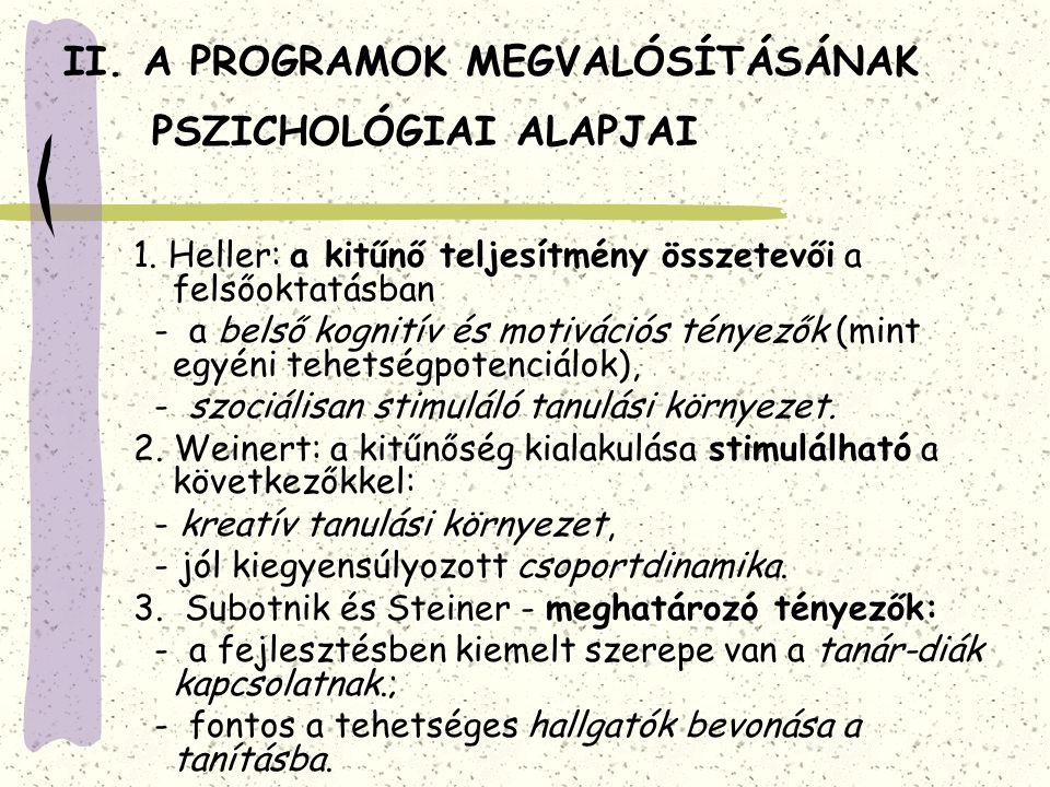 II. A PROGRAMOK MEGVALÓSÍTÁSÁNAK PSZICHOLÓGIAI ALAPJAI 1. Heller: a kitűnő teljesítmény összetevői a felsőoktatásban - a belső kognitív és motivációs
