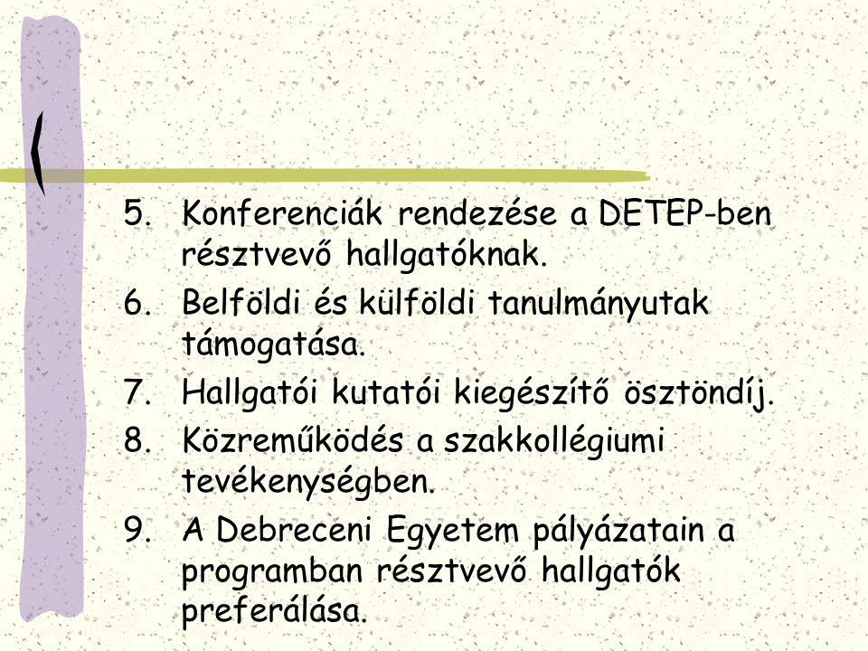 5.Konferenciák rendezése a DETEP-ben résztvevő hallgatóknak. 6.Belföldi és külföldi tanulmányutak támogatása. 7.Hallgatói kutatói kiegészítő ösztöndíj