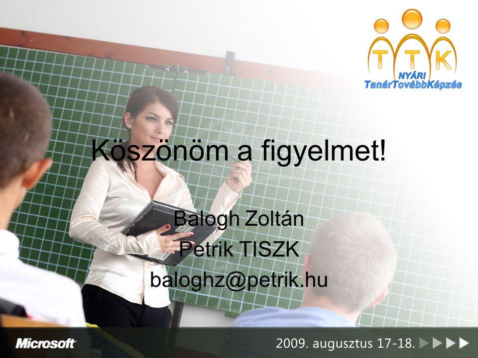 Köszönöm a figyelmet! Balogh Zoltán Petrik TISZK baloghz@petrik.hu