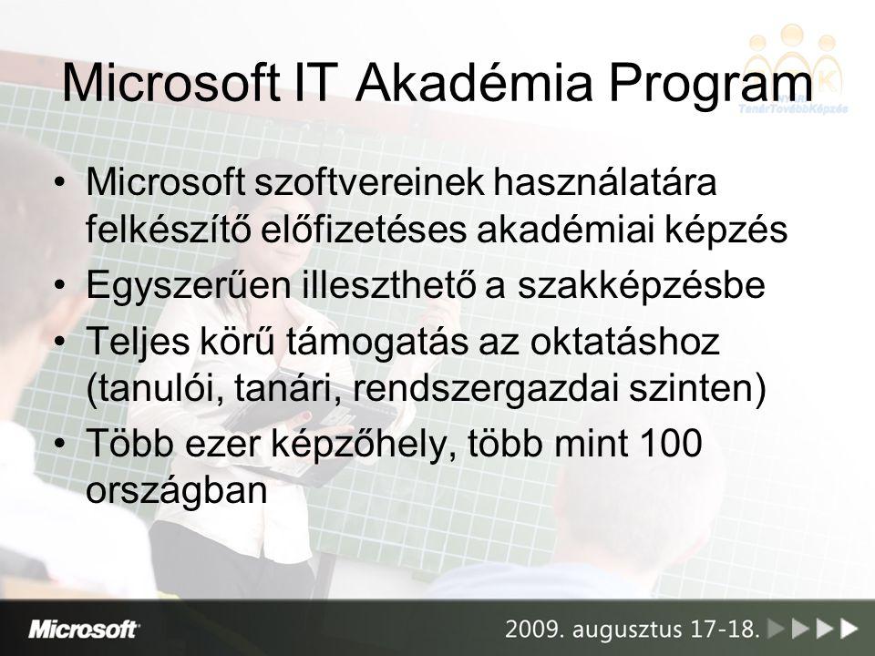Microsoft IT Akadémia Program Microsoft szoftvereinek használatára felkészítő előfizetéses akadémiai képzés Egyszerűen illeszthető a szakképzésbe Telj