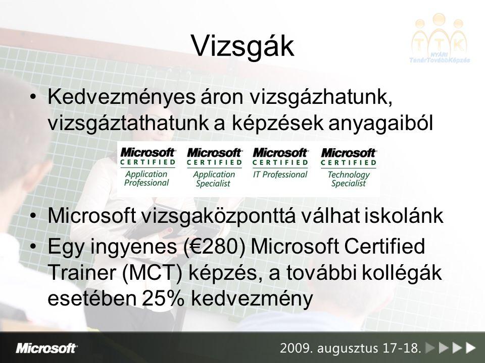 Vizsgák Kedvezményes áron vizsgázhatunk, vizsgáztathatunk a képzések anyagaiból Microsoft vizsgaközponttá válhat iskolánk Egy ingyenes (€280) Microsof