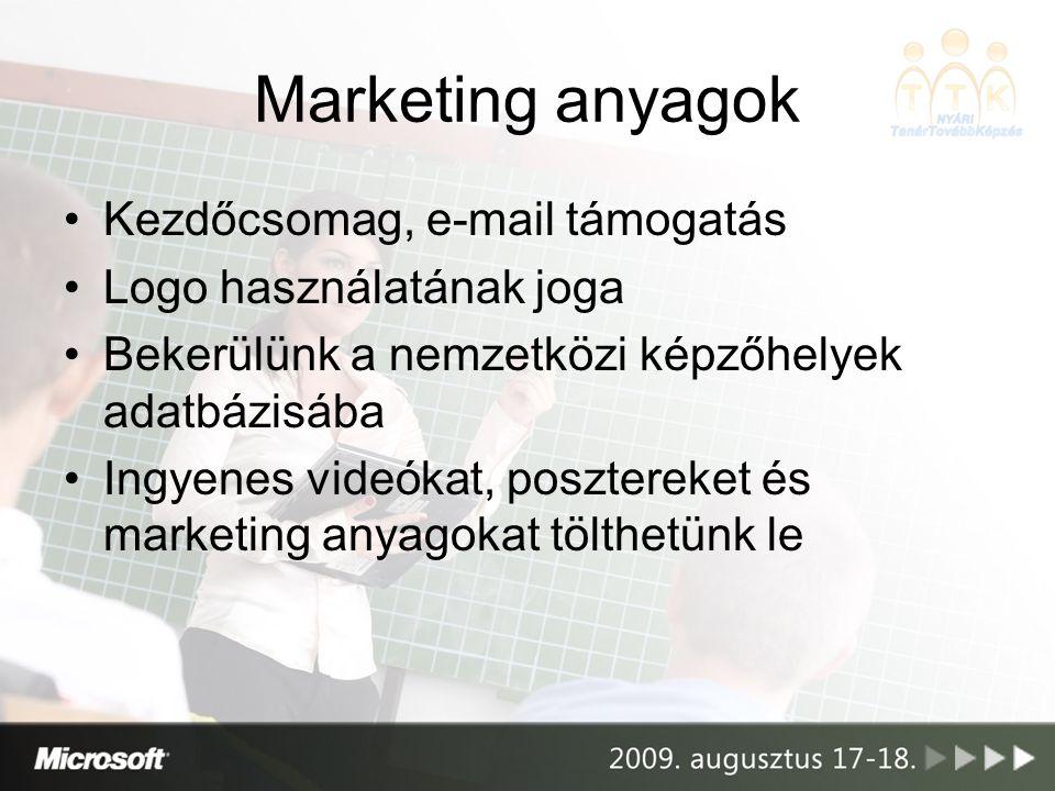 Marketing anyagok Kezdőcsomag, e-mail támogatás Logo használatának joga Bekerülünk a nemzetközi képzőhelyek adatbázisába Ingyenes videókat, posztereke