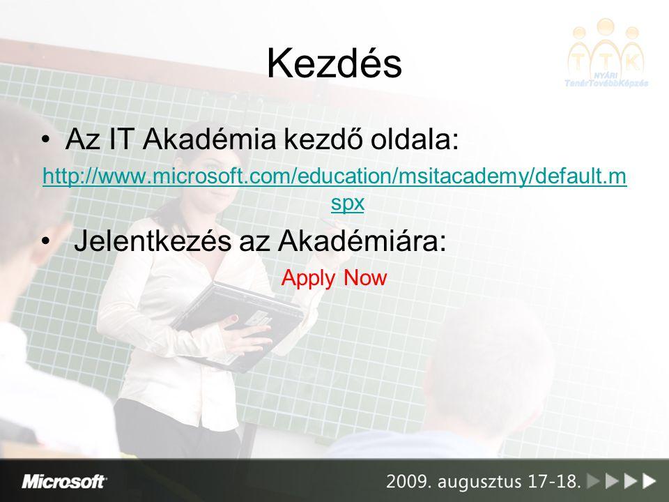 Kezdés Az IT Akadémia kezdő oldala: http://www.microsoft.com/education/msitacademy/default.m spx Jelentkezés az Akadémiára: Apply Now