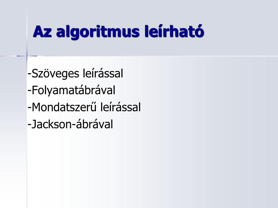 Az algoritmus leírható -Szöveges leírással -Folyamatábrával -Mondatszerű leírással -Jackson-ábrával