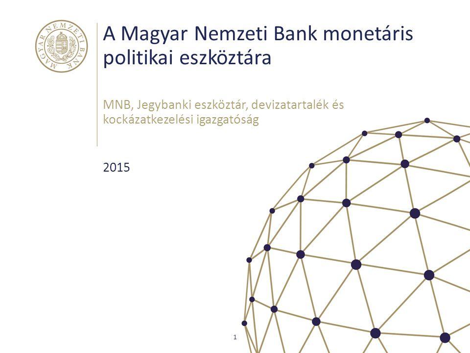 A Magyar Nemzeti Bank monetáris politikai eszköztára MNB, Jegybanki eszköztár, devizatartalék és kockázatkezelési igazgatóság 1 2015