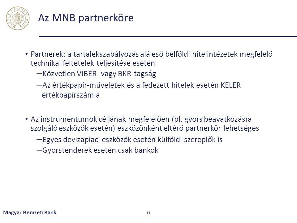 Az MNB partnerköre Partnerek: a tartalékszabályozás alá eső belföldi hitelintézetek megfelelő technikai feltételek teljesítése esetén ― Közvetlen VIBE