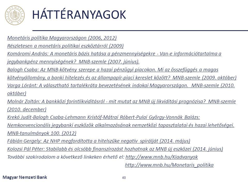 Monetáris politika Magyarországon (2006, 2012) Részletesen a monetáris politikai eszköztárról (2009) Komáromi András: A monetáris bázis hatása a pénzm