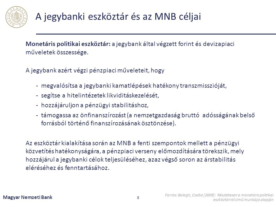A jegybanki eszköztár céljai és elemei Magyar Nemzeti Bank 9 + Nem aktív eszközök: állampapír-vásárlás, jelzáloglevél vásárlás Monetáris transzmisszió támogatása A jegybanki eszköztár kihasználtsága függ a piaci likviditás alakulásától.